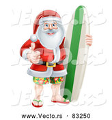 Vector of Santa Giving Thumb up with Surf Board by AtStockIllustration