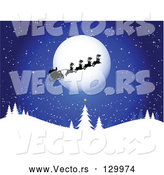 Vector of Santa, His Sleigh and Reindeer Silhouetted As They Pass in Front of the Full Moon on a Blue, Snowy, Wintry Night by KJ Pargeter