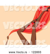 Vector of Sexy Black Womans Legs with Red Silk and Heels over Beige by Amanda Kate