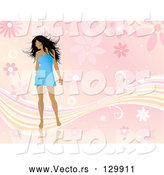 Vector of Sexy Young Black Haired Lady in a Short Blue Dress, Looking over Her Shoulder and Standing over a Pink Floral Background with Waves by KJ Pargeter