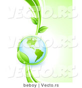 Vector of Shiny 3d Globe Within a Lush Green Leafy Vine by Beboy
