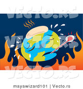 Vector of Sick Earth over Hot Flames - Environmental Warming Concept by Mayawizard101