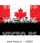 Vector of Silhouetted Party People over a Canadian Flag by KJ Pargeter