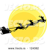 Vector of Silhouetted Santa Sleigh and Flying Reindeer Against the Christmas Eve Moon by Pams Clipart