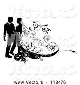 Vector of Silhouetted Wedding Couple with Ornate Swirls by AtStockIllustration