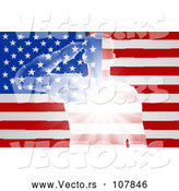Vector of Silhouetted White Light Saluting Soldier over an American Flag with Rays by AtStockIllustration