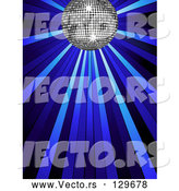 Vector of Silver Disco Ball Shining in Spotlights on a Blue Background by Elaineitalia