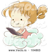 Vector of Sketched Girl Using a Laptop on a Cloud by BNP Design Studio