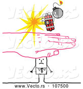 Vector of Sketched Pink Hand Protecting a Stick Businessman from a Bomb by NL Shop