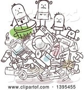Vector of Sketched Stick Businessman and Family on a Pile of Trash by NL Shop