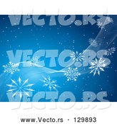 Vector of Snowy Blue Background with White Waves and Snowflakes Spanning Diagonally Across by KJ Pargeter