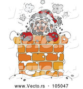 Vector of Sooty Santa in a Chimney by Alex Bannykh