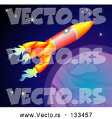Vector of Space Rocket Flying past Planets and Stars in Space by AtStockIllustration