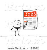 Vector of Stick Business Man Highlighting Job Openings on a Poster by NL Shop