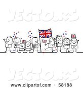 Vector of Stick People Character Crowd Celebrating with Union Jack Flags by NL Shop