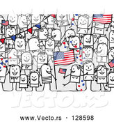 Vector of Stick People Characters with an American Flag by NL Shop