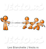 Vector of Strong Orange Guy Holding One End of Rope While Three Others Pull on the Other Side During Tug of War by Leo Blanchette