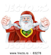 Vector of Strong Super Hero Santa Flexing Muscles by AtStockIllustration