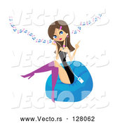 Vector of Stylish Young Brunette Lady Sitting on a Bean Bag and Listening to Music Through an Mp3 Player by Peachidesigns