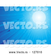 Vector of Sun Shining Blue Light down on Flying Birds by Elaineitalia
