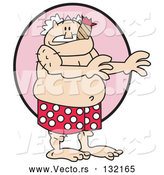 Vector of Surprised Old Guy in Red and White Polka Dot Boxers, Smoking a Cigar. by Andy Nortnik
