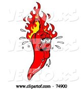 Vector of Sweaty Hot Red Pepper with Flames by LaffToon