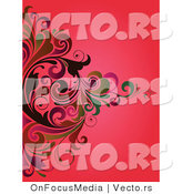 Vector of Swirly Vines over a Red Background Design by OnFocusMedia