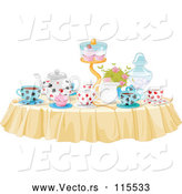 Vector of Table Set with Treats and Drinks for a Tea Party by Pushkin