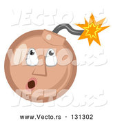 Vector of Tan Ticking Time Bomb Smiley Face Looking up at the Fuse by AtStockIllustration