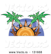 Vector of the Sun Setting Between Palm Trees by Andy Nortnik
