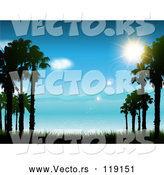 Vector of the Sun Shining over a Blue Coastal Landscape and Sea by KJ Pargeter
