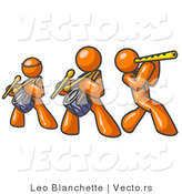 Vector of Three Orange Guys Playing Flutes and Drums at a Music Concert by Leo Blanchette