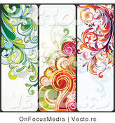 Vector of Three Unique Colorful Flourish Background Borders - Digital Collage by OnFocusMedia