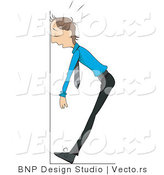 Vector of Tired Businessman Collapsing Against a Wall by BNP Design Studio