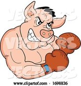 Vector of Tough Muscular Boxer Pig for a BBQ Competition Design by LaffToon