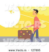 Vector of Traveling Guy Carrying Luggage and Watching a Plane Fly Above by Prawny