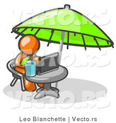 Vector of Traveling Orange Business Guy Sitting Under an Umbrella at a Table Using a Laptop Computer by Leo Blanchette