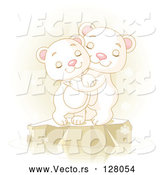 Vector of Two Adorable Polar Bears Hugging and Smiling on Ice by Pushkin