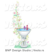 Vector of Two Birds at a Bird Bath Beside Floral Vines - Border Background Design by BNP Design Studio