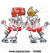 Vector of Two Chef Pigs Holding up Ribs and Chicken by LaffToon