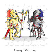 Vector of Two Opponet Knights Facing Each Other by Snowy