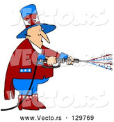 Vector of Uncle Sam in Red, White and Blue, Using a Power Washer and Spraying out Stars on Tax Day or the Fourth of July by Djart