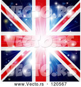 Vector of Union Jack Flag Background with Flares and a Burst. by AtStockIllustration