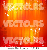 Vector of Valentine Background of Red and Orange Lights with Hearts and Butterflies by Merlinul