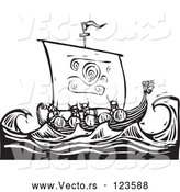 Vector of Viking Warriors and a Dragon Ship at Sea Black and White Woodcut by Xunantunich