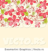 Vector of Vines and Pink Flowers on Beige Background by Vector Tradition SM