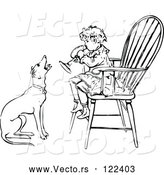Vector of Vintage Black and White Boy Playing a Horn in a Chair As a Dog Barks Along by Prawny Vintage