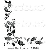 Vector of Vintage Black and White Corner Border of Christmas Holly Sprigs by Prawny Vintage
