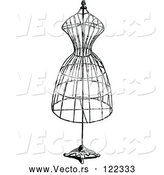 Vector of Vintage Black and White Wire Dressmaker Frame by Prawny Vintage