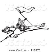 Vector of Warrior with a Flag on a Leaping Horse - Black and White Woodcut by Xunantunich